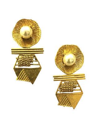 Pearl Hexa Gold-Plated Brass Earrings
