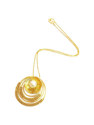 Pearl Swirls Gold-Plated Brass Necklace