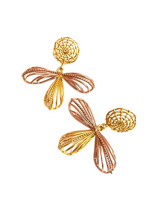 Rose Foliage Gold and Rose Gold-Plated Brass Earring