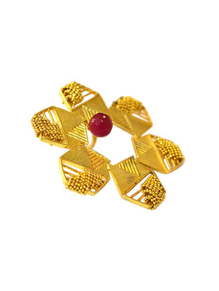 The Hexa Rose Gold-Plated Brass Adjustable Ring
