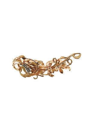 Rose Branch Dual Finger Rose Gold Plated Brass Adjustable Ring