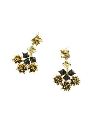 The Black Rose Gold-Plated Brass Earrings