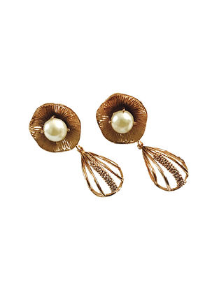 Pearl Rose Gold-Plated Brass Earrings