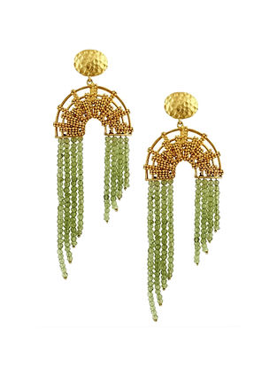 Cascading Peridot Gold-Plated Brass Earrings