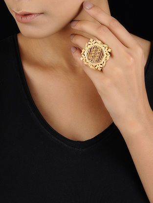 Classic Gold-plated Brass Adjustable Ring