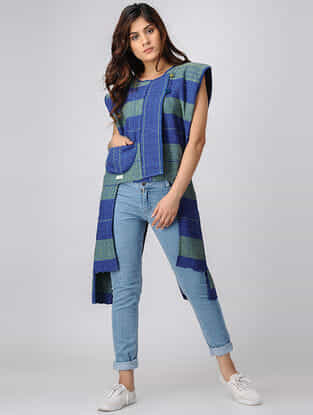Green-Blue Handwoven Cotton Jacket