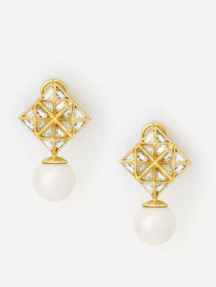 Gold Plated Fresh Water Pearl and Brass Earrings