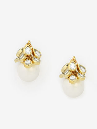 Gold Plated Pearl and Brass Earrings