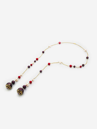 Multicolored Gold Plated Pearl and Brass Necklace