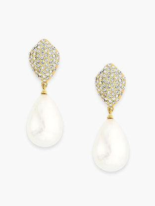 White Gold Plated Pearl and Brass Earrings