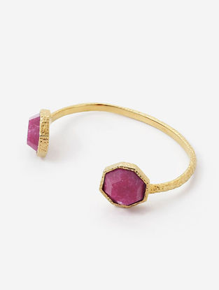 Pink Gold Plated Quartz and Brass Cuff