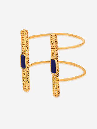 Blue Gold Plated Lapis and Brass Cuff