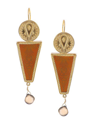 Brown Gold-plated Silver Earrings