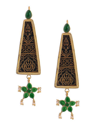 Green Gold-plated Silver Earrings with Floral Design