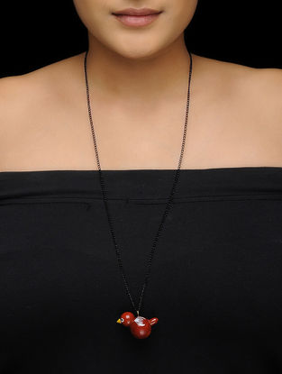 Red-Black Wood Necklace with Bird Design
