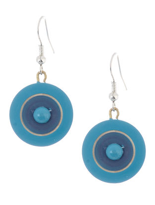 Blue Wood Earrings