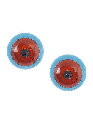 Blue-Red Wood Earrings