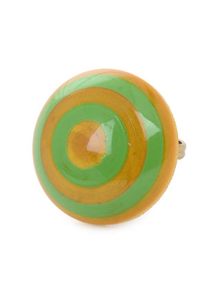 Yellow-Green Adjustable Wood Ring