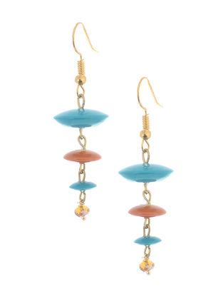 Orange-Blue Wood Earrings