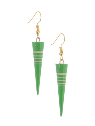 Green-White Wood Earrings