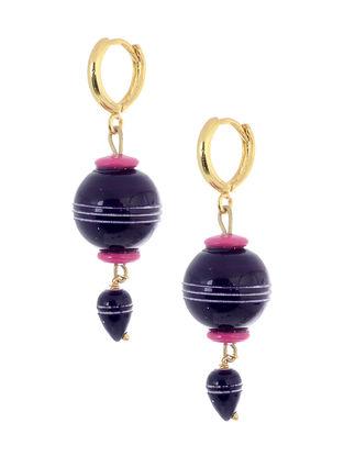 Purple-Pink Wood Earrings
