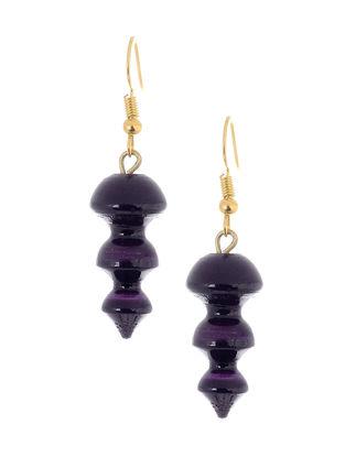 Purple Wood Earrings