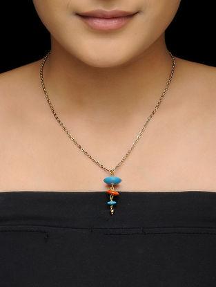 Blue-Orange Wood Necklace