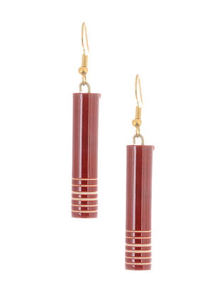 Red-White Wood Earrings