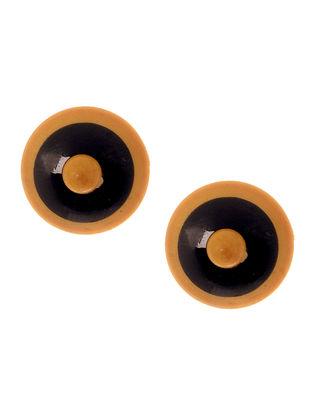 Orange-Black Wood Earrings
