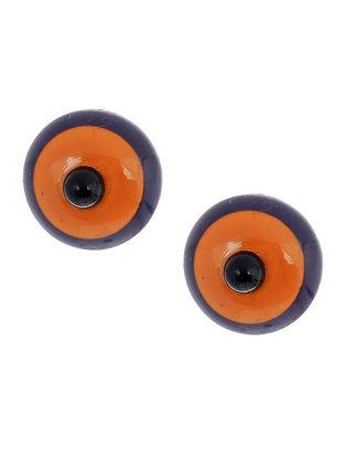 Orange-Purple Wood Earrings