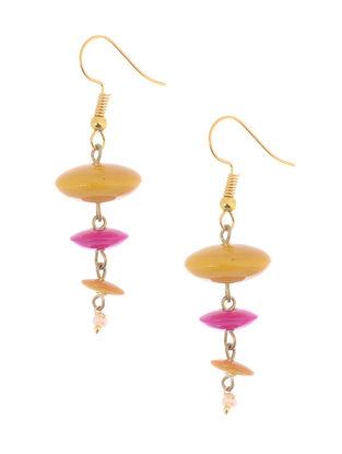 Yellow-Pink Wood Earrings