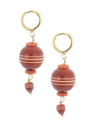 Red-Orange Wood Earrings