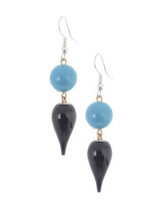 Blue-Black Wood Earrings