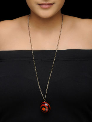 Red-Black Wood Necklace