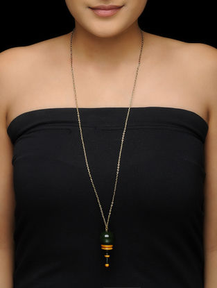 Green-Yellow Wood Necklace