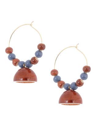 Red-Purple Wood Earrings