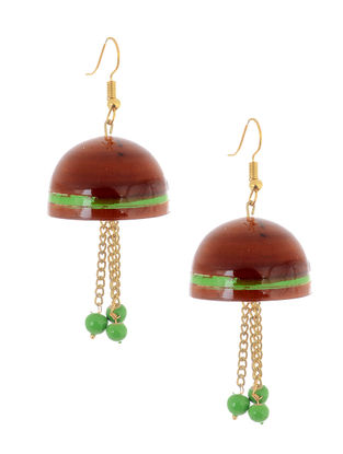 Red-Green Wood Jhumkis