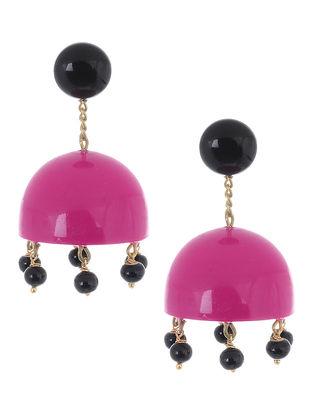 Pink-Black Wood Jhumkis