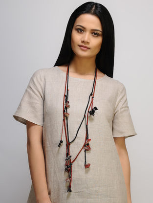 Red-Black Multi-string Cotton Neckpiece