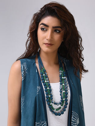 Indigo-Green Multi-string Cotton and Bead Neckpiece by Jaypore