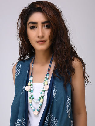 White-Green Cotton and Bead Neckpiece by Jaypore