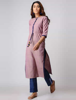 Pink Tie-up Khadi Cotton Kurta