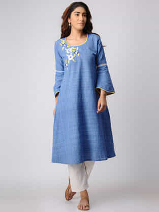 Blue Khadi Cotton Kurta with Embroidery