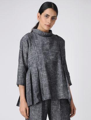 Grey Pleated-Collar Khadi Cotton Top