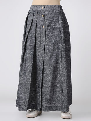 Grey Button-down Skirt with Pleats