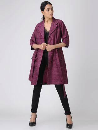 Plum Khadi Cotton Jacket with Belt