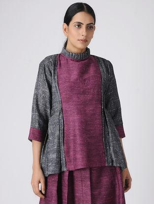 Plum-Grey Pleated-Collar Khadi Cotton Top
