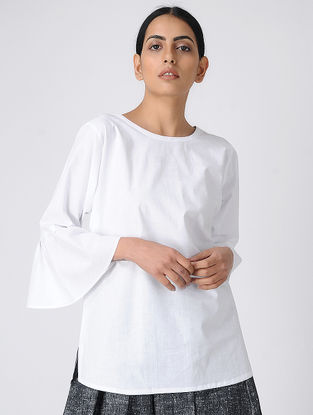 White Khadi Cotton Top with Bell Sleeves