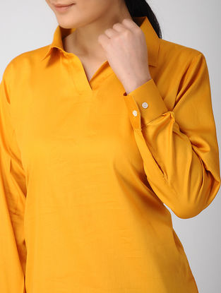 Yellow Khadi Silk Top