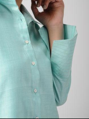Blue Khadi Silk Shirt